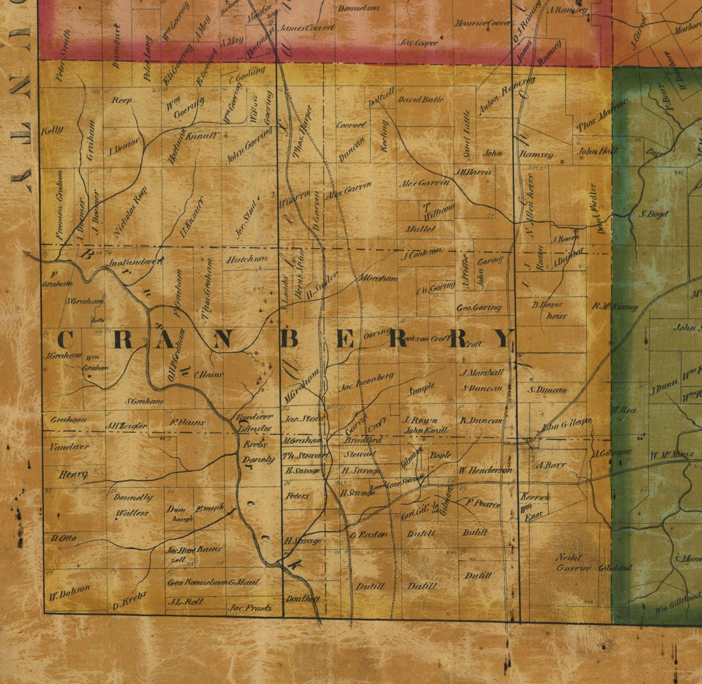 Cranberry Township Map of 1858
