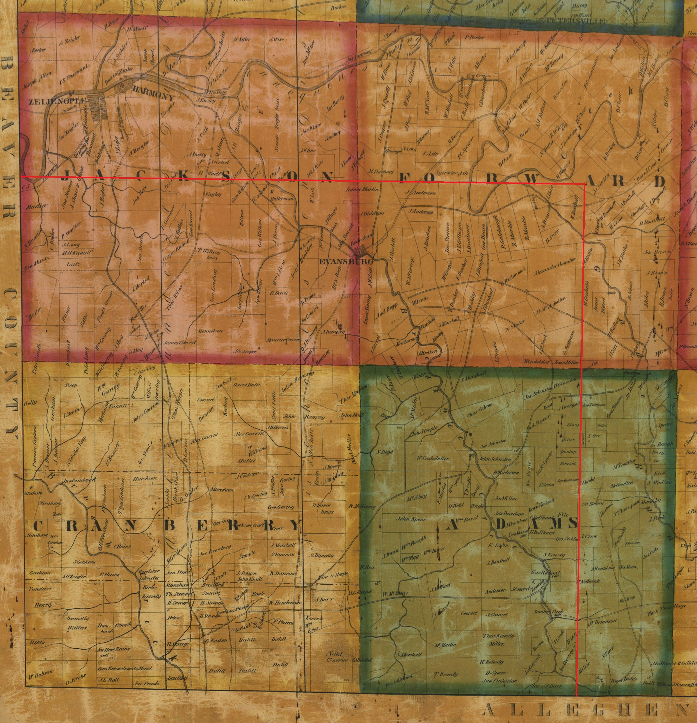 Cranberry Township Composite Map of 1858