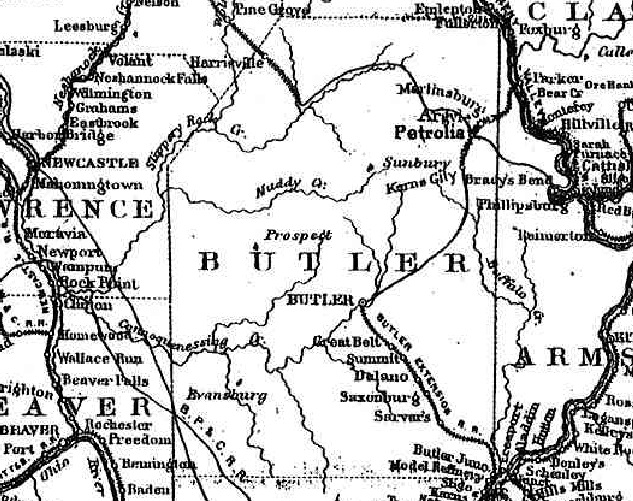 Butler County Cropped from 1876 Western PA Railroad Map